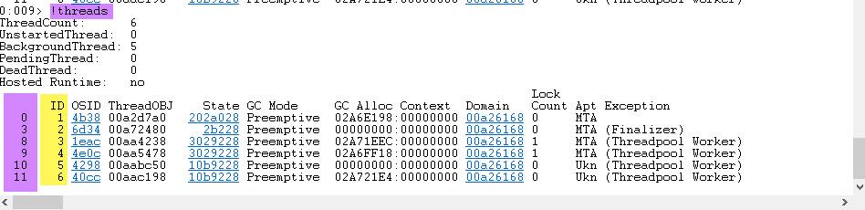 WinDbg Threads command