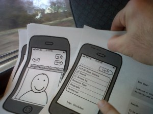 Mocking up mobile design with our Technology lead on the train from Princeton to New York City