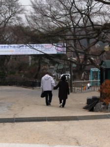 Older couple holding hands outside Bongwonsa (봉원사), Seoul, Korea