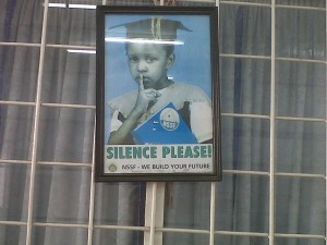 Sign at University of Dar es Salaam Library