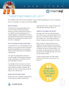 Case Study: MemSQL