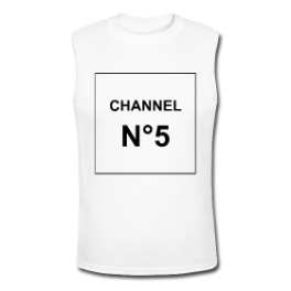 Channel N°5 (white) tank tee by Michael Shirley
