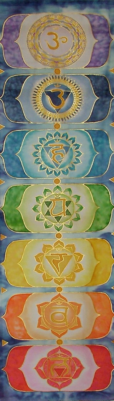 hand painted silk chakra symbols rainbow wallhanger fionastolze silkandart