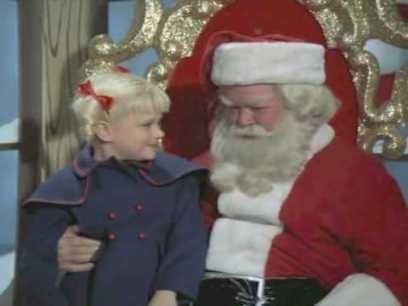 Cindy Brady and Santa