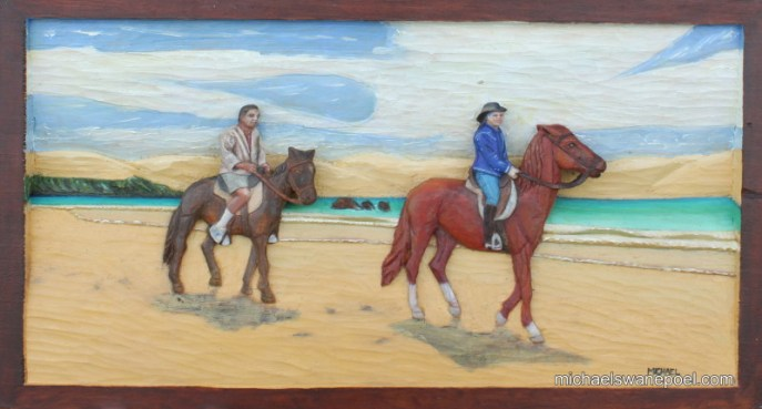 28-beach-ride-struisbaai-54cm-x-30cm-x-3-5cm-relief-sculpture-jelutong-wood-artists-oils-michael-swanepoel-800x430