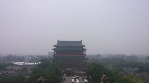 A view of the Drum Tower from the Bell Tower in Beijing