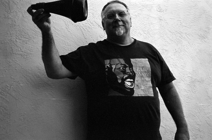 Michael Vlatkovich wearing his Eddie Moore teeshirt in Albuquerque, August 29, 2009 | Photo by Mark Weber
