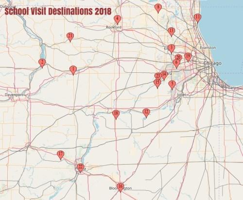 A MAP OF SCHOOL VISIT DESTINATIONS