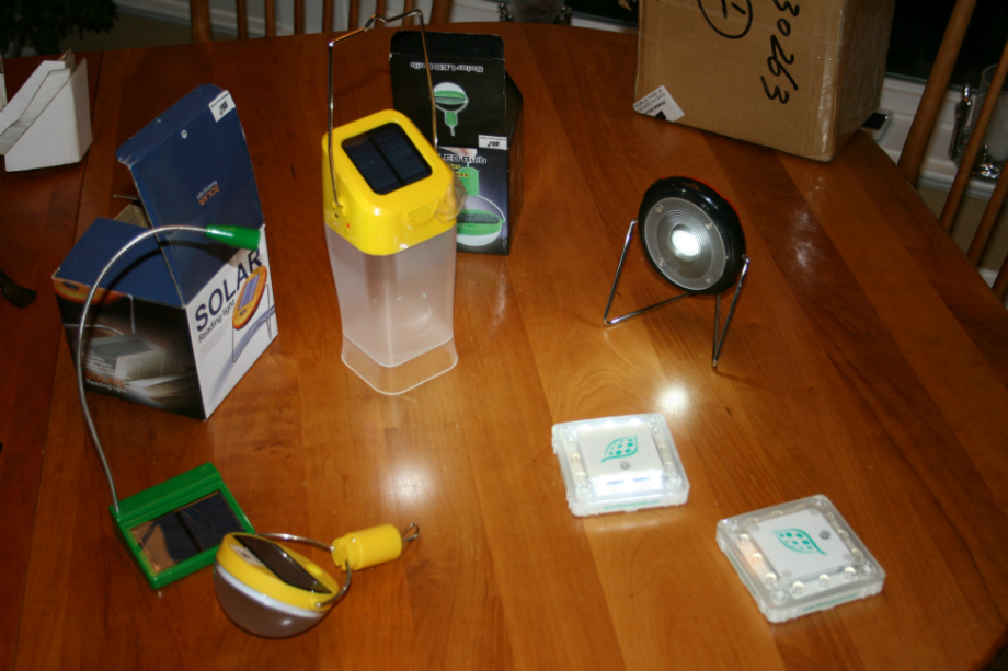 Some of the Chinese-made solar lights--I'll be bringing 290 of the one--top right, plus 20 of a larger light