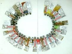 colors of the language: PL Schaboszczak z ziemniaczkami, 2011, paint tubes arranged alphabetically