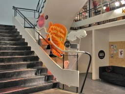 Back to the future, 2013, linguistic sculpture embedded into the staircase of Bunkier Sztuki, Cracow