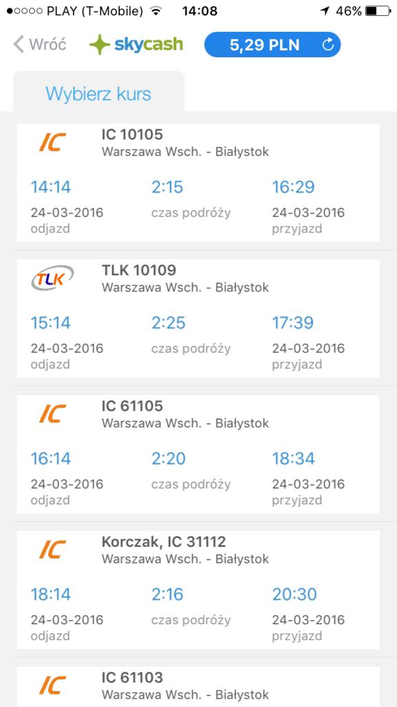 Skycash - bilety na pociąg