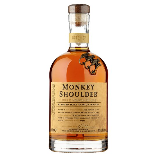 Monkey Shoulder. Pisałem już o nim jakiś czas temu (kliknij w obrazek), więc powiem tylko krótko - po pierwsze jest lekki i przyjemny w smaku, po drugie to tak zwany blended malt, czyli blend, ale mieszany jest tylko z 3 gatunków whisky single malt.