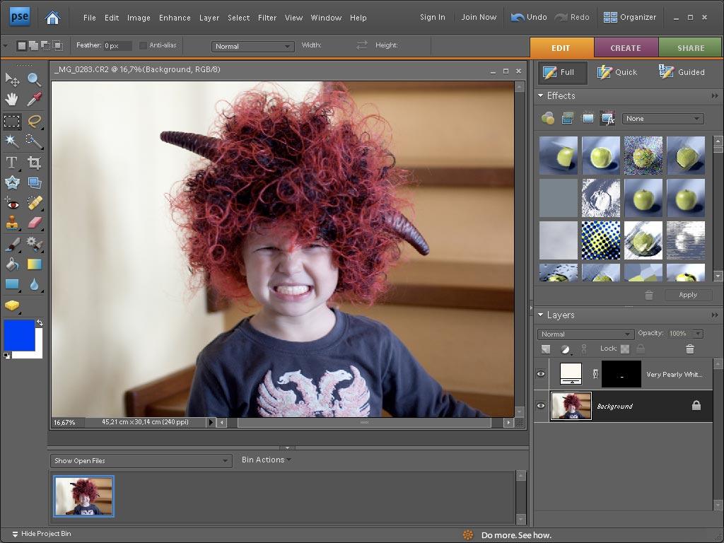 V plném režimu editace máte přistup k pokročilým nástrojům jako jsou vrstvy, masky, vrstvy úprav