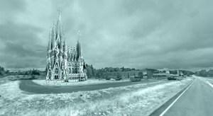 Recreación de la Sagrada Familia en Hielo