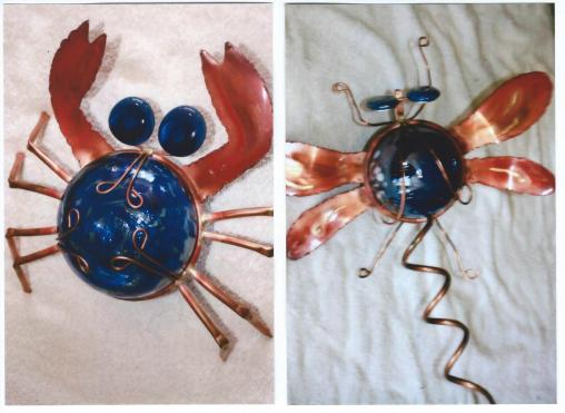 Karla's Krafty Kreations – Copper Yard Art of Butterflies, Snails, Sun Flowers, Spiders, Fish, Dragon Fly, Owls, Humming Bird Dishes