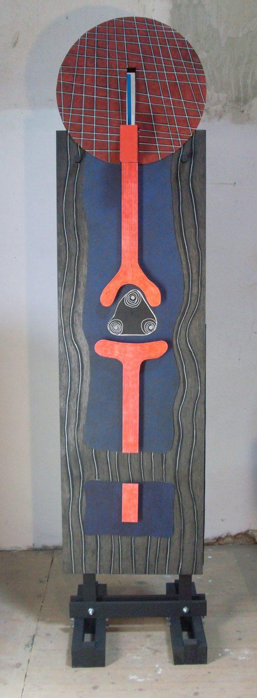 Michel Rossigneux - Traverse n°3 verso- Bois, carton, crayons de couleur