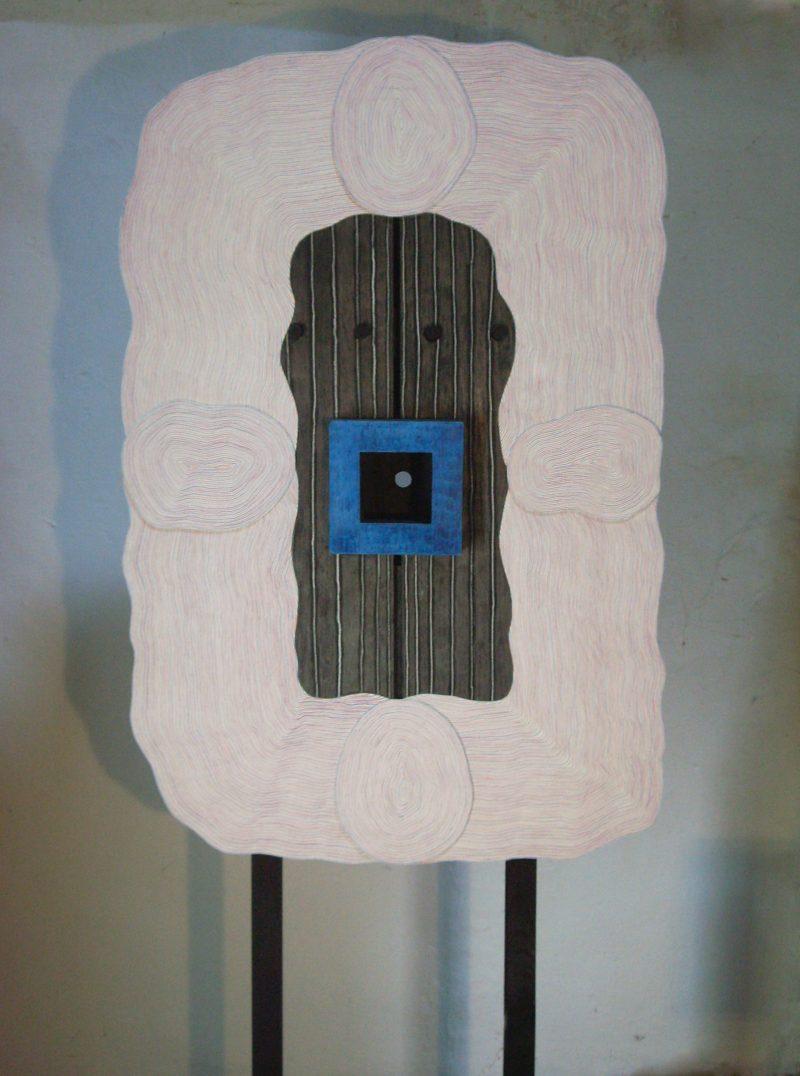 Michel Rossigneux - Traverse n°1 recto - Bois, carton, crayons de couleur
