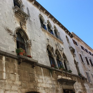 Trifora windows on the Gothic palace in Porec