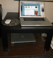 Standup-desk-with-Ikea-Lak-table-and-Macbook