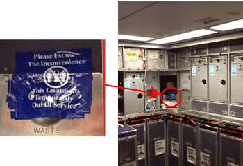 Unintended signage in airliner galley
