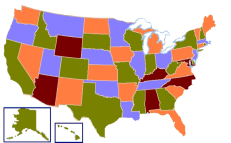 Map of United States vivid colors shown