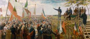 Louis-Joseph  Papineau  s'adresse au peuple du Bas-Canada (nom du Québec  à l'époque).Il était le chef politique incontesté du Parti Patriote. Les Patriotes étaient supportés par  plus de canadiens anglophones d'origine irlandaises,écossaises et autres que de canadiens français,à l'époque...contrairement à ce que beaucoup de  souverainistes actuels ignorent. La Rébellion des Patriotes du Bas-Canada avait pour but de créer un gouverment responsable,abolir la corruption et de créer une nation indépendante de l'Empire Britannique.