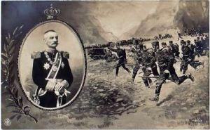 Immage de propagande du Roi de Serbie  pour attiser la ferveur militaire.
