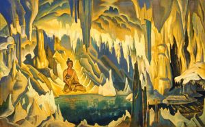what does it mean ?? title: Buddha the Winner By artist : Nicholas Roerich Gallery: N. K. Roerich International Centre-Museum, Moscow, Russia : L'artiste veut-il nous lancer sur la piste de Shamballa?