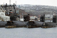Le cimetière des sous-marins  soviétiques négligés de Mourmanks.