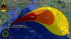 La radioactivité  suit les courants marins vers...l'Amérique du Nord.