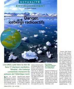 Danger,Icebergs radioactifs en mer