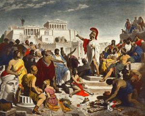 Périclès  prononce un discours funèbre en hommage  à ceux qui ont donné leur vie pour la patrie.