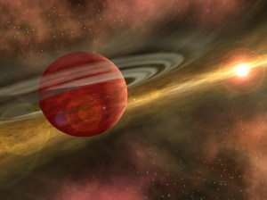La conception d'un artiste d'une jeune planète sur une orbite lointaine autour de son étoile hôte. La star recèle encore un disque de débris, de vieux matériaux,des  vestiges de la formation des étoiles et des planètes, de l'intérieur de l'orbite de cette planète.