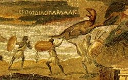 """La mosaïque du Nil de Palestrina  attribuée à Demetrius le géomètre,  représente des éthiopiens chassant  un """"Crocodile-Léopard""""."""