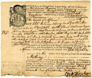 Document manifeste du brick Sally
