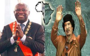 Le président  Gbagbo et le Grand Guide Socialiste du Peuple Libyen,Mouhamar Kadhafi.