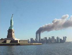 WTC in fire