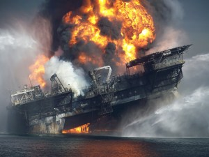 "En avril 2010:le terrible ""accident"" de la plateforme de forage en mer Deepwater Horizon./ In April 2010 the terrible ""accident"" of the offshore drilling platform Deepwater Horizon."
