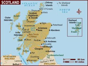 Carte politique de l'Écosse..