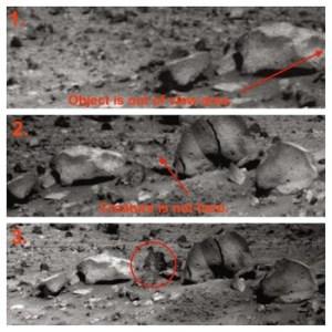 Première série de trois images de Spirit Rover montrant  un objet (?) ou un animal en mouvement sur Mars