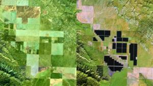 """Avant la construction de la """"Ferme solaire Topaz"""" dans l'état américain de Californie (2012, gauche) a été utilisée la région pour l'agriculture. Sur la photo à partir de 2015 (à droite) la zone est pleine de panneaux. Ils couvrent 24,6 kilomètres carrés et fournissent assez de puissance pour 160 000 foyers. L'usine est un des plus importants aux États-Unis"""