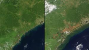 Les conséquences d'une catastrophe naturelle: la gauche est une bande côtière au Mozambique enregistré en Février 2014. A droite: La zone après une inondation en Janvier, lorsque la rivière Licungo et autres eaux ont débordé et des régions entières ont été inondées