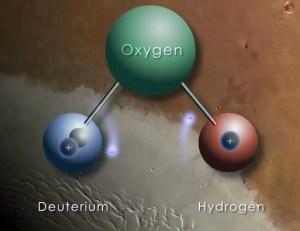 Un atome d'hydrogène est constitué d'un proton et un électron, mais sa forme lourde, appelé deutérium, contient également un neutron. HDO ou de l'eau lourde est rare par rapport à l'eau potable normale, mais étant plus lourd, plus susceptibles de rester lorsque la forme plus légère se vaporise dans l'espace. Crédit: NASA / GFSC