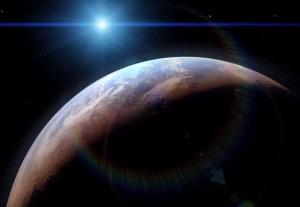 Illustration montrant Mars...jadis.L' évolution d'un monde humide pour l'actuelle où l'eau liquide ne peut pas former un étang sur sa surface sans  se vaporiser directement dans les airs de la planète. Comme Mars a perdu son atmosphère au cours des milliards d'années, l'eau restante,s'est  refroidie et condensée  pour former le nord et le sud des calottes polaires. Crédit: NASA / GSFC