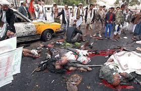 Pendant que l'industrie américaine de l'armement fait des profits,les cadavres jonchent le sol à Sanaa,au Yémen. Mais cela n'a pas d'importance à Washington,car   ce n'est pas du sang américain ou israélien qui coule.