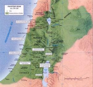 Ci-dessus carte de la Palestine romaine .Palestine vient de Philistine, pays à gauche du royaume de Judas, ( voir la carte plus haut dans ce dossier à l'année 931 av J- C ) les Philistins étaient les ennemies des Juifs ( Goliath était un philistin) l'Empereur Hadrien choisit ce nom enfin d'humilier les Juifs