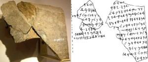 La stèle de Tel Dan ( découvert en 1993 ) est une stèle de basalte noir érigée par un roi araméen dans le nord d'Israël. Elle contient une inscription araméenne qui commémore la victoire du roi sur les anciens israélites.Les inscriptions mentionnent la Maison de David et Israël ( L'inscription a été datée du VIIIe ou IXe siècle av. J.-C.
