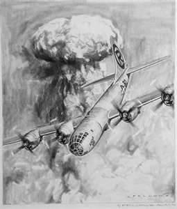 Dessin d'artiste de l'époque représentant le bombardement atomique d'Hiroshima.