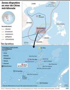 Les zones disputées en mer de Chine.